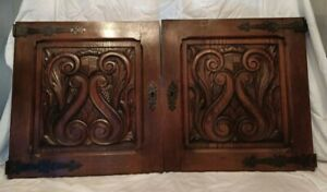 """23"""" PAIR Antique French Gothic Architectural Panel Door Oak Wood Carved Salvage"""