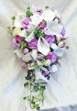 LAVENDER LILAC Cascade Bridal Bouquet Roses Calla Lilies Silk Wedding Flowers