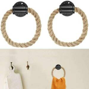 Pipe Rope Ring Wall-Mounted Rustic Towel Holder Rack Ring Bathroom Accessories