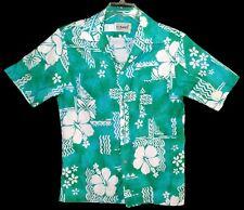 Vintage POMARE Hawaiian Aloha Shirt Sz M 1970's Tribal 100% Cotton Aqua & White