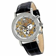 ROMILLY CABOT MENS WATCH BLACK LEATHER SKELETON DIAL / WHITE