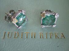 JUDITH RIPKA LA PETITE BLUE TOPAZ 18K GOLD SAPPHIRE 925 SILVER STUD EARRINGS BOX