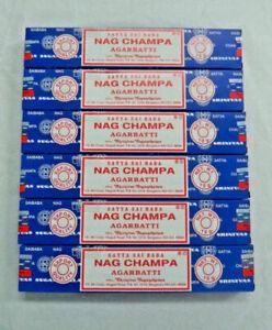 Original Blue Box Satya Nag Champa Incense Sticks: Lot of 6 x 15 Gram Boxes = 90