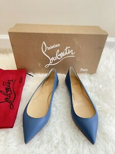 Christian Louboutin Ballalla Blue Napa Leather Pointed Toe Ballerina Flat Sz 37