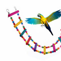 80cm Large Parrot Ladder Toys Pet Bird Wooden Perch Swing Budgie Cockatiel Climb