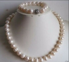 10-11mm white freshwater pearl necklace bracelet set