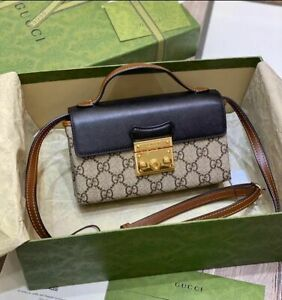 Authentic Gucci Beige GG Supreme Canvas Padlock Mini Bag