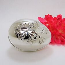 Vintage 1977 Wallace Silver Plated Lidded Trinket Box Egg W/ 3D Lilies