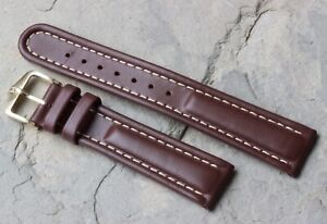Medium brown Hirsch 20mm vintage watch band padded leather contrasting stitching