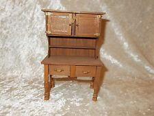 Miniature Wooden Doll House Furniture -- Vintage-Looking Hoosier/Pastry Cupboard