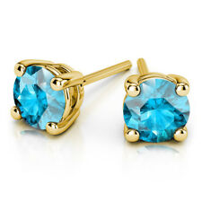 Real 14K Yellow Gold Stud Earrings 1.00 Ct Round Solitaire Aquamarine Earring