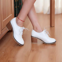 Fashion Women's Chunky Ankle Boots Block Low Heels Casual Shoes Lace up Size 8