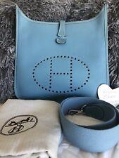 Auth HERMES Evelyne PM 1 Blue Jean Veau Epsom Shoulder Bag Square J