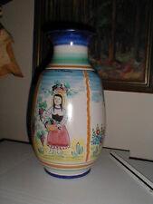 "AMALFI 15"" Art Pottery Vase ITALY Hand Made Painted FOUR FIGURE SCENE Vietri VTG"