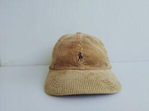 Vtg. POLO by RALPH LAUREN CORDUROY Brown Cap Hat Black Pony Leather Strap
