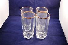 """Lovely Set Of 4 Hiball 5"""" Drinking Glasses w/ Gold Trim Kitchen Décor"""