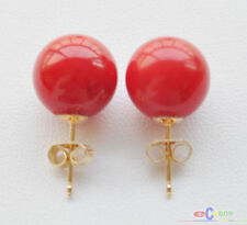 S1543 natural real 12mm round red coral bead stud earring