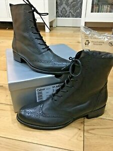 Gabor -Positive - Womens Black Leather Brogue Boots NEW SIZE 7 (40 EUR) RRP £120