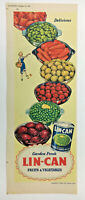 1952 COLOUR PRINT ADVERT LIN CAN FRUIT & VEGETABLES