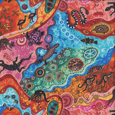 Australian Aboriginal Dilkara Turtle Goanna Kangaroo Quilting Fabric FQ or Metre