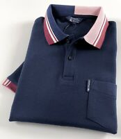Ben Sherman Polo Shirt Men's Regular Fit Navy Blue Colour Block Collar 0062869T