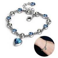 Fashion Women 925 Silver Chain Bracelet Heart Rhinestone Crystal Bangle Jewelry