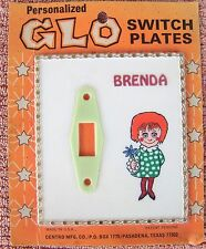 Personalized Glo Light Electric Switch Plate VTG Brenda