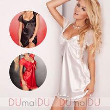 Dkaren Klara Nachthemd für Damen, kurzarm, Spitze, V-Ausschnitt, Rüsche, EU