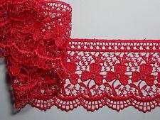 "The Place For Lace - Premium Bright Red Guipure Lace Trim 2.75""/7cm PER METRE"