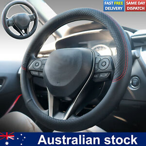 15'' Anti-slip Car Steering Wheel Cover PU Leather Protector Red Fabric Braid
