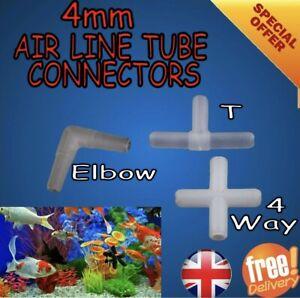 Aquarium AIR LINE Tube Plastic CONNECTOR For Fish Tank Airline 4 Or 6 mm Tubing