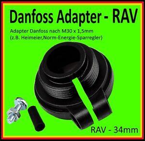 1 Adapter Danfoss Heizungsventilantrieb Heizkörperthermostate RAV 34mm > M30x1,5