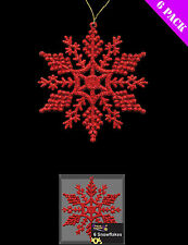 6 x Red Snowflake Glitter Christmas Tree Hanging Decoration FREE P&P
