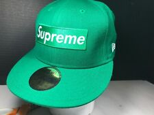 New Era 59Fifty Supreme Green Signature Supreme Box Logo Fitted Cap  7 1/4 NWOT