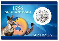 1966 50c AUSTRALIAN ROUND SILVER COIN, IN PRESENTATION CARD