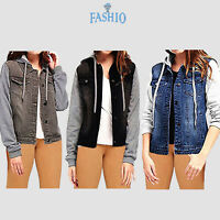 Ladies Denim Hoodie Jacket Casual Slim Fit Front Pocket Button Jeans Coat Vest