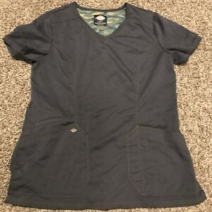 dickies womens S gray polyester blend scrub top medical a3