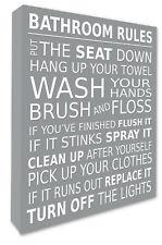Bathroom Rules Wall Picture Bathroom Wall Art Canvas Print Grey 4 Sizes 032