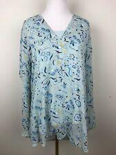 Susan Graver Womans Tunic Blouse Light Blue Floral Shirt Tank Set Sz L Glitter
