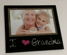 "I love my Grandma Photo Picture Frame Glass Black Glitter Gift 4""x6"""