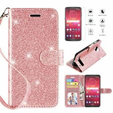 Motorola Moto Z3 Play Wallet Case Stand Strap Magnetic Screen Protector Rose Gol
