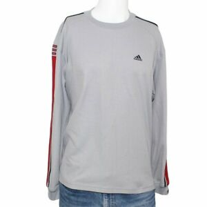 """Adidas Large Gray Long Sleeve Pullover Shirt 49"""" Chest"""