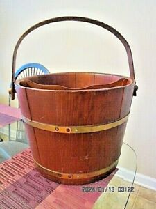 Lane Cedar Bucket with Divider Wood Handle and Brass Trim