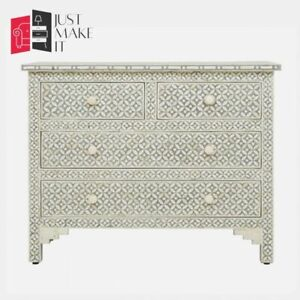 Bone Inlay Grey White Chest of Drawer sideboard Lattice (MADE TO ORDER)