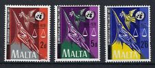 Malta 1970 25th Anniversary of the UN  Three Stamp Set MH SEE SCANS.