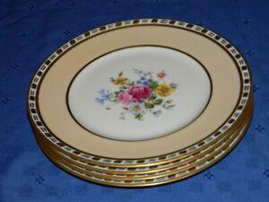 C AHRENFELDT LIMOGES FRANCE 4 DINNER PLATES FLORAL PINK-BEIGE GOLD ENCRUSTED