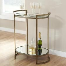 Oval Bar Cart Metal Frame/Tempered Glass Top and Shelf Antique Gold Finish