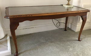 LR Vintage Antique Rectangular Wooden Coffee Table With Glass Top 97x47x45cm