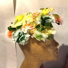 Vtg Spring Colors Bright Millinery Floral Lady`s Hat w Chenile Wrapped Frame
