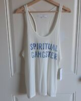 NWT Spiritual Gangster Womens Sheer Water Batik Fill Graphic Tank Top Size Large